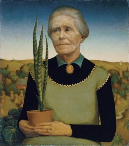 Woman with Plants by Grant DeVolson Wood