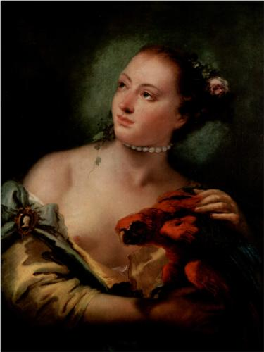 A Young Woman with a Macaw by Giovanni Battista Tiepolo