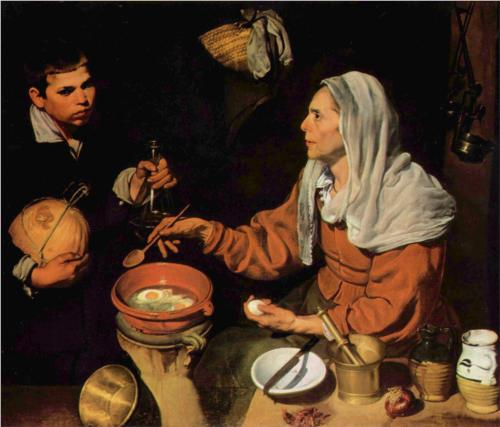 An Old Woman Cooking Eggs by Diego Rodríguez de Silva y Velázquez