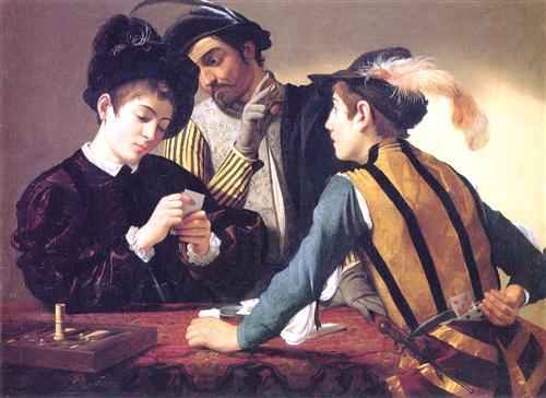 Cardsharps by Michelangelo Merisi o Amerighi da Caravaggio