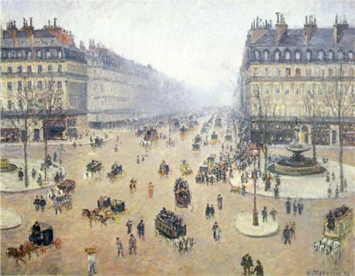 Avenue de l'Opera, Place du Theatre Francais by Camille Pissarro