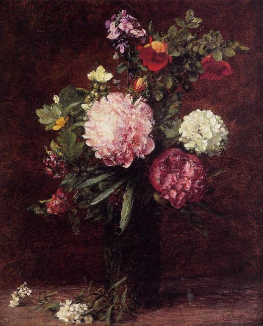 lowers Large Bouquet with Three Peonies by Henri Fantin-Latour