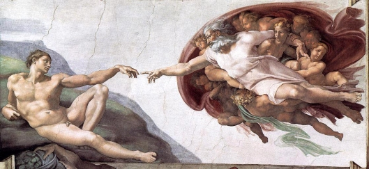 Sistine Chapel Ceiling: Creation of Adam by Michelangelo di Lodovico Buonarroti Simoni